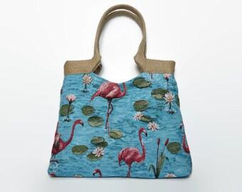 Tapestry tote bag, gobelin tote bag, large handbag, trendy shoulder bag, flamingos, romantic,tapestry handbag,tapestry bag, padded fiberfill