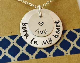 Adoption Gift, Adopition Necklace, Foster Parent, Born in my heart, Hand Stamped Necklace
