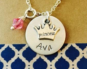 Princess Necklace, Princess Crown Necklace, Little Girl Necklace, Girls Name Necklace, Young Girls Jewelry, Kids Jewelry