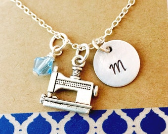 Sewing Machine Necklace, Sewing Necklace,  Personalized Initial Necklce, Seamstress Gift