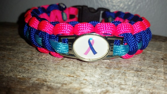 Thyroid Cancer Awareness ribbon 550 paracord survival bracelet shoelace charm