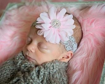 Pink and Gray Newborn headband, Baby girl headband, Newborn headband, Vintage lace Headband, Newborn Photo Prop, Wedding, Baby girl headband