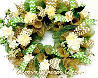 "26"" Year Around Wreath, Moss Green Burlap Wreath, Floral Wreath, Deco Mesh Wreath"