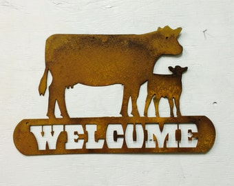 Metal Cow & Calf Welcome Sign