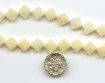 "Natural Cream Quartz, Smooth 8x8mm Flat Square Gemstone BEADS, full 16"" strand, DESTASH ks90"
