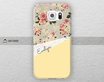 Flowers on wood print - Samsung Galaxy S7 case, Galaxy S6 case, Galaxy S4 case, Galaxy Note 5 case, Galaxy Note 4 case, Galaxy Note 7 case