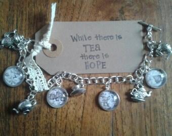Teapot Cameo Charm Bracelet - Antique Silver