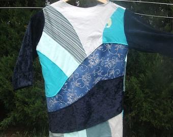 Women patchwork velvet jersey T-shirt