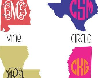 State Decal with Monogram, Home state decal, monogram state decal, state sticker, vinyl state sticker