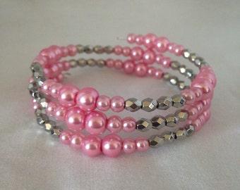 Pink beaded bracelet, pink bracelet, beaded bracelet, wrap bracelet, pearl bracelet