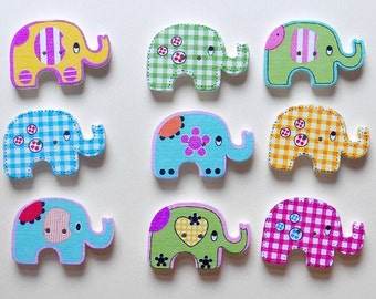 9 Wooden Multicolor Elephants Buttons - #SB-00034