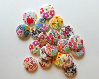 20 Wooden Flower Buttons - #WS-00007