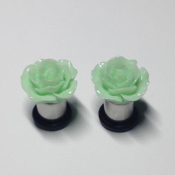 Etsy Plugs 2g 15mm Mint Green Rose Plugs 2g