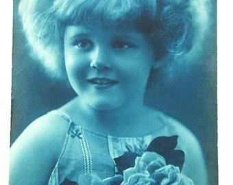 French antique postcard. Little girl portrait. Art deco 1923.