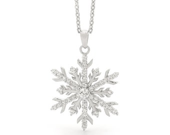 Large Sterling Silver Snowflake Pendant Necklace
