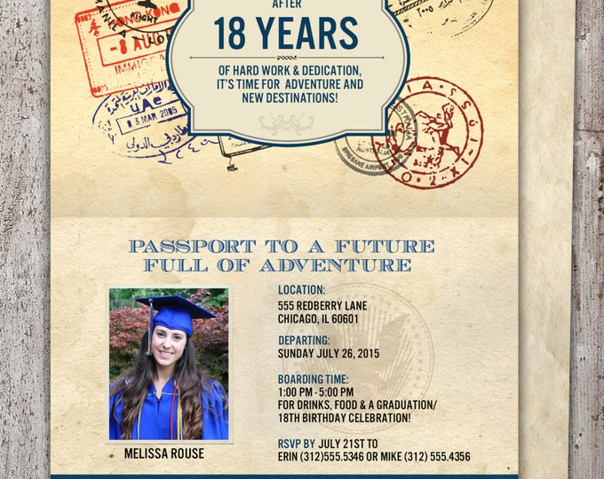 Graduation Party Invitation, Bon Voyage, travel, passport, destination, invite, party, oh the places you will go, prom, class of 2017