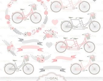 Wedding Bicycles Clip Art- Tandem- Pink and Grey Floral Bicycles- Wedding invitations- Floral Wreath- Flower Bicycles- Flower Basket- Bikes
