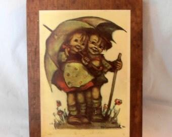 Hummel Print, Vintage Picture, Artwork, Boy and Girl Picture, Wood Picture, Old Picture, Epsteam