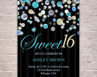Turquoise Glitter Sweet 16th Birthday Party Invitation, DIY Printable Sweet 16 Birthday Invite, Teen 16th Birthday, 30th, 40th, 50th, 60th
