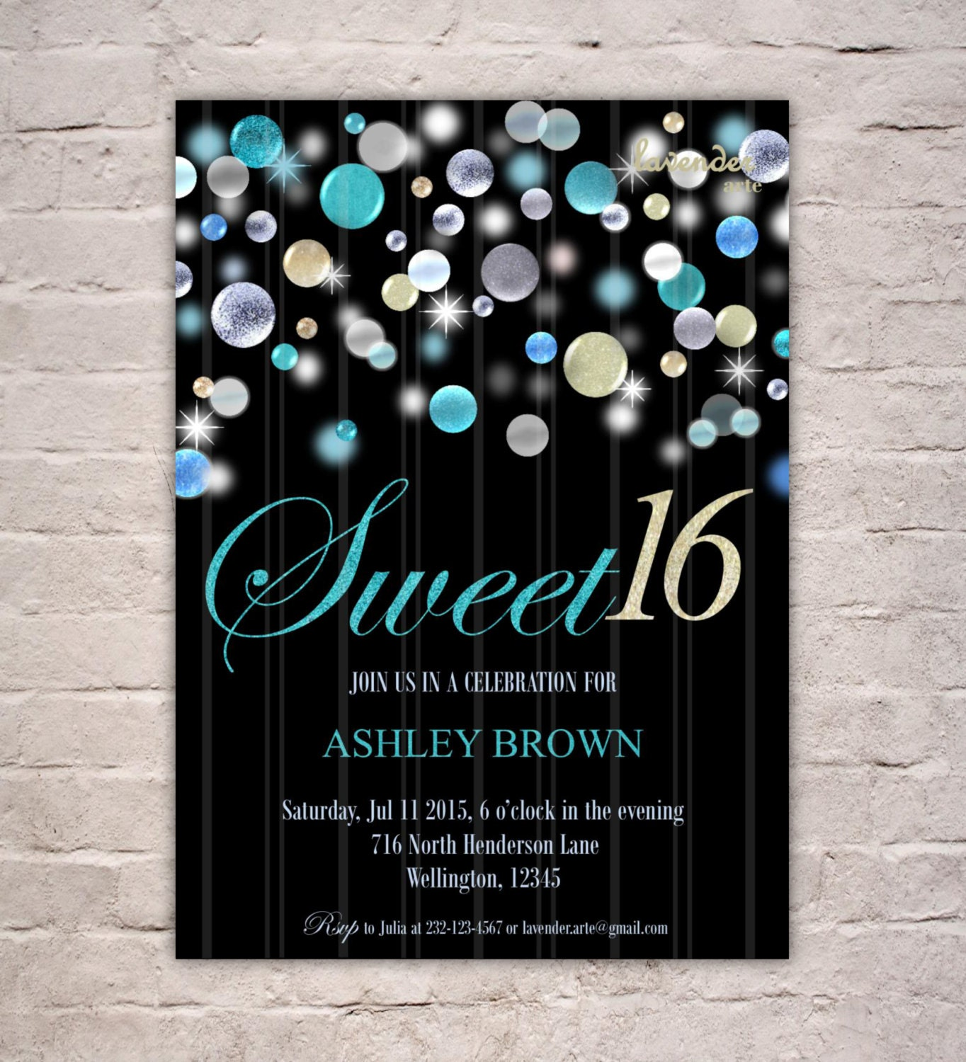 Turquoise Glitter Sweet 16th Birthday Party Invitation DIY