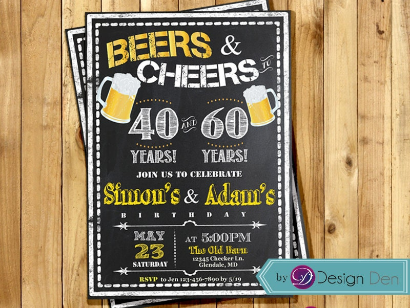 Printable Joint Birthday Party Invitations ~ Adult birthday joint party invitation for men beers cheer