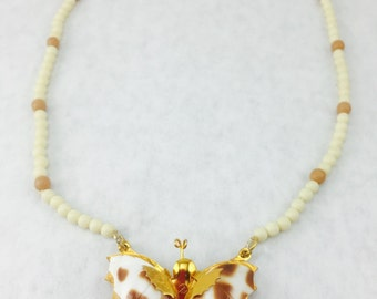 Vintage Butterfly and Beaded Necklace -item 47