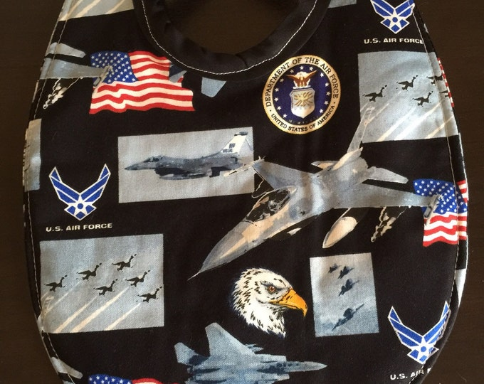 Baby Bib United States Air Force Print Fabric, Available in 3 Sizes!!!