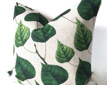 Green leaf botanical cushion, green leaf, botanical pillow, outdoor throw pillow, garden cushion, green outdoor cushion, botanical decor