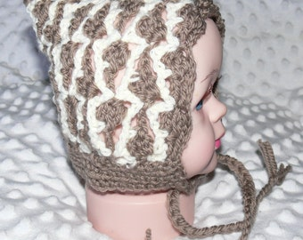 Newborn Baby Crocheted Brown/White Pixie Bonnet with Ties