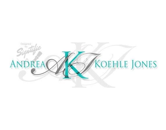 Professional email signature, elegant name signature logo, custom business e-mail signature, aqua blue and gray logo, letterhead logo