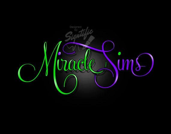 Custom name logo, premade logo, calligraphy logo, OOAK signature logo green and purple, elegant logo, social media logo, name signature logo