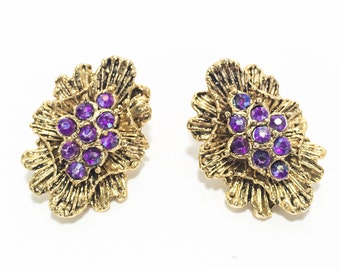Vintage Gold Starburst Earrings, Mid-Century, w/ purple AB Rhinestones.