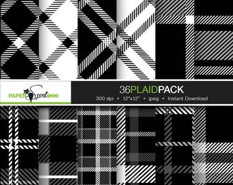 70% off sale - 36 value pack black and white tartan plaid pattern digital paper, Scrapbooking craft paper, Printable (DP0054)