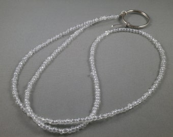 "Clear beaded lanyard necklace 26"" to 42"" long lanyard , ID holder ,keychain holder ,eyeglasses holders or ring eyeglass holder beaded chain"