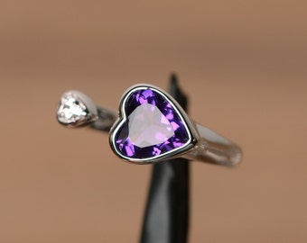 natural amethyst ring silver ring purple amethyst February birthstone ring heart ring engagemrnt ring