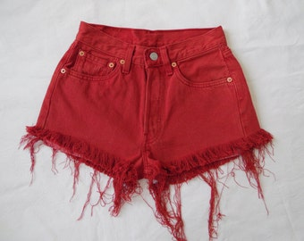 High waisted denim Levis 501 shorts vintage red jean shorts cut off frayed distressed denim hotpants X Small Waist 25 26
