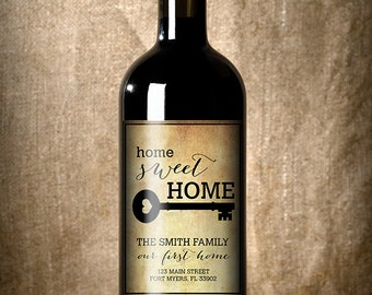 Housewarming Gift -New Home Wine Label - Custom Wine Label - Personalized Housewarming Gift - Housewarming Gift Basket