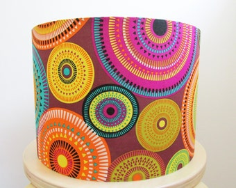 Geometric Brown Lampshade Purple Orange by Michael Miller