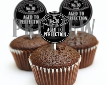 Whiskey Themed Cupcake Toppers - DIGITAL FILE