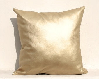 Light gold pillow cover, Gold Cushion Cover, Holiday Decorative Pillow Case, Gold leather 02
