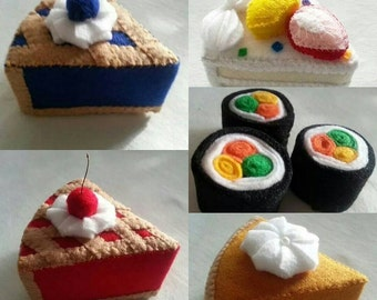 Handmade made to order felt food/ pushpins/decorations pies, cakes, sushi