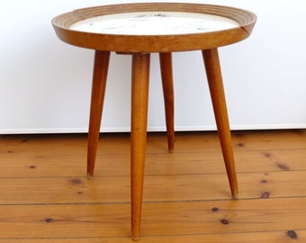 Flowers stool table tripod mid century 50's