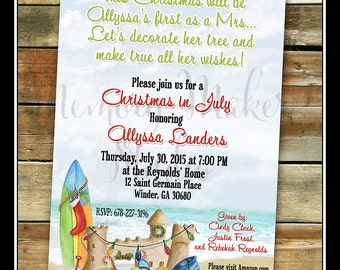 Christmas in July, Printable Invitation, Coastal Christmas, Coastal Holiday Invitation, Christmas Chower Invitation, Coastal Holiday, Beach