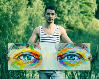 Original Large Acrylic Portrait · Eyes · Wall Decor