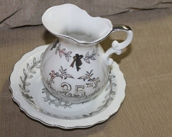 Vintage Lefton China 25th Anniversary Pitcher w Matching Bowl Number 5992 Elegant, Serving, Great Gift Idea For Anniversaries, Collectible