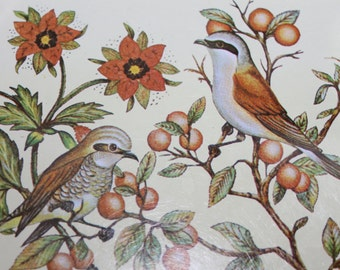 """Bull-headed Shrikes """"Lanius bucephalus""""  Male and Female on Tray, w Flowers and Berries, Metal, Painted Tray, Octagon Tray, Very Collectible"""