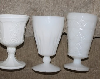 Vintage, Mix Matched Set of Milk Glass Mugs or Goblets, All Have No Handles, Home Decoration, Collectibles, For Wine or Tea, Collectibles