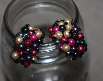 Vintage Pair of Earrings for Pierced Ears, Colors are Purple, Pink, Blue, & Pearl, Please Look at the Pictures, They are Perfect Face Decor