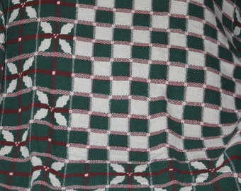 Vintage Blanket or Throw For The Couch or Chair to Keep You Warm, Holiday Season, Christmas Season, Religious, Holly Plant, Home Decoration