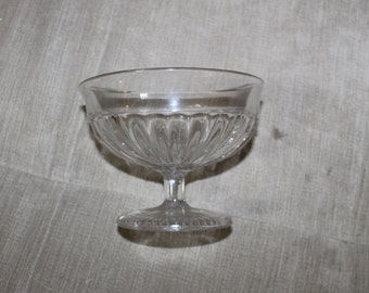 This Clear Glass Pedestal Bowl is Old, Beautiful Design, The Bowl is Smooth Inside & On The Outside You Feel The Design in The Glass, NICE